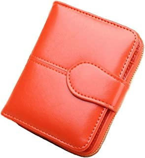 Women Short Wallet Kobwa Ladies Small Zip Leather Purse Clutch Handbag for Money Card Coin Passport(Orange)