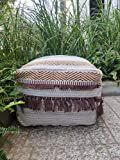RISEON Boho Hand WovenContemporary Cotton LinenFabric Pouf Cover Footstool Ottoman Poufs Unstuffed-Square Floor Cushion Footrest Cover for Living Room, Bedroom and Under Desk (Brown Fringe)