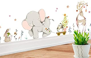 Jungle Animals Stickers Elephant Deer DIY Children Mural Decals Kids Room Wall Decor Baby Bedroom Nursery Decoration (Elephant)