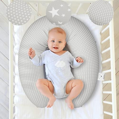 Bequemes Stillkissen von BEARTOP | 180cm lang |Schwangerschaftskissen zum stillen, schlafen, lagern usw. | Bezug aus 100% Baumwolle | hochwertige Füllung |Zufriedenheitsgarantie (3 Jahre)*
