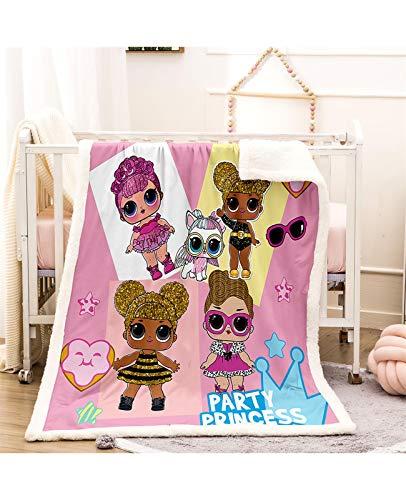 HONG Decke Überraschung Puppe LOL 3D Druck Fleece Couch Doppeldecke Bettbezug Lamm Samt Sofa Bett Wurfgröße Gemütlich Comfy Alle Jahreszeiten (Color : B, Size : 150 * 200cm)