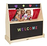 ECR4Kids Birch Hardwood Play Puppet Theater with Flannel Board for Felt Letters, Puppet Theater for Kids with Curtains, GREENGUARD Gold Certified, Puppets for Kids, Kids Shows