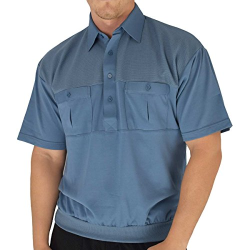 Classic by Palmand 2 Pocket Solid Banded Bottom Polo Shirt (Large, Marine)