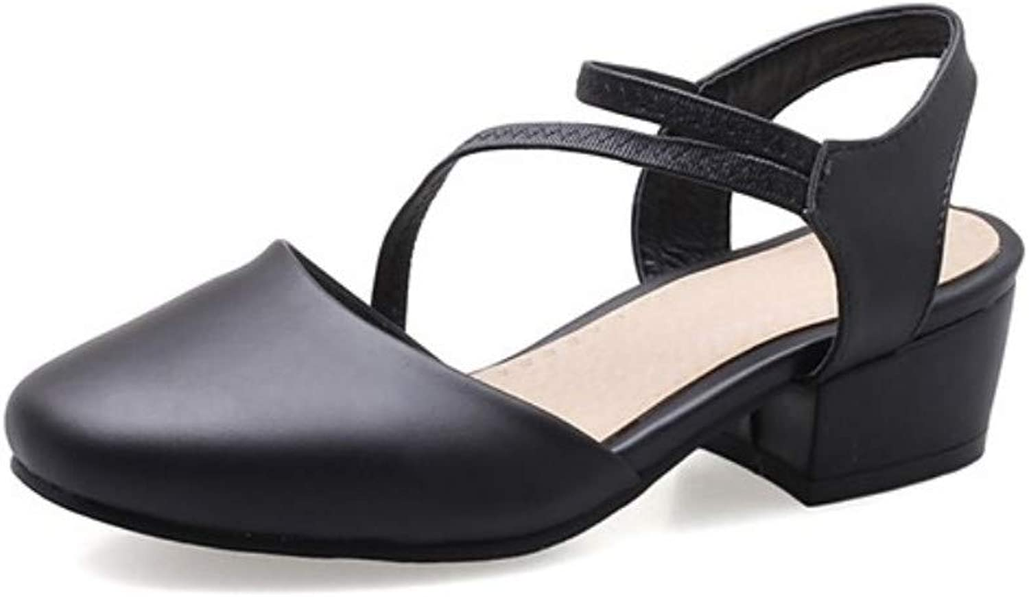 IWlxz Women's shoes Leatherette Summer D'Orsay & Two-Piece Sandals Low Heel Round Toe Black Beige Pink