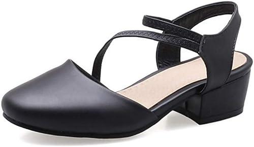 Chaussures Femme en Simili-Cuir Eté Or D'Orsay & Deux-Pièces Sandales Talon Bas Bout Rond Noir Beige Rose