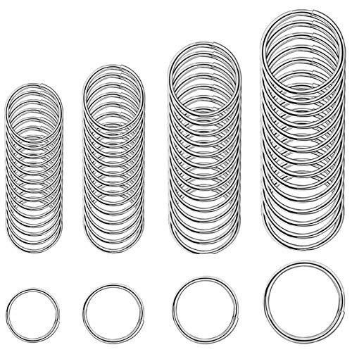 Xinmeng Schlüsselringe 100 Stücke Flache Schlüsselanhänger Ringe aus Edelstahl, Ø 20/25/28/30mm Metall Split Ring für Büro Haushalt Auto Schlüssel