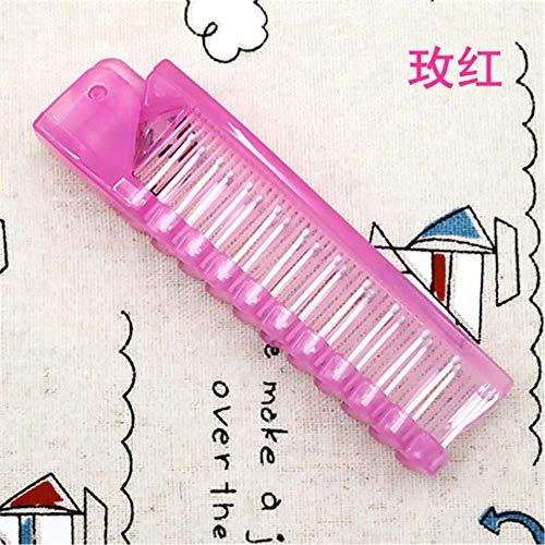 jiangyanyiliao 1pcs Voyage à Usage Unique Peigne Brosse à Cheveux Massage Pliable Anti-Statique Peigne Pliant Portable,Rose