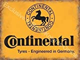 Continental neumáticos Amarillo firmar, negro caballo logotipo Alemán Neumáticos Para coches, motores, ciclos para casa, hogar, garaje, bicicleta tienda, hombre cave, vertiente o pub. Metal/Cartel De Acero Para Pared - 30 x 40 cm