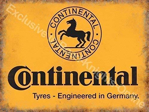 Continental neumáticos Amarillo firmar, negro caballo logotipo Alemán Neumáticos Para coches, motores, ciclos para casa, hogar, garaje, bicicleta tienda, hombre cave, vertiente o pub. Metal/Ca
