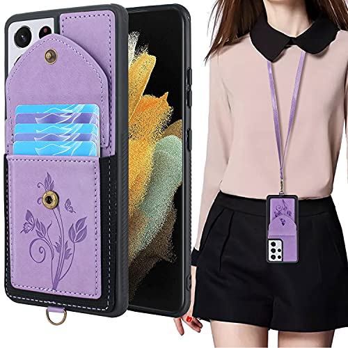 Lacass for Samsung Galaxy S21 Ultra G998U 6.8 inch Case Slim Leather Wallet Protective Cover with Elastic Pocket Credit Card Slot Holder Detachable Neck Lanyard Strap (Butterfly Light Purple)