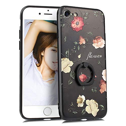 """YUYIB iPhone8 用 ケース リング付き iPhone SE2 用 ケース [第2世代] iPhone7 用 ケース かわいい 花柄 ディズニー 浮き彫り キャラクター ストラップホール アイフォン8 用 カバー (iPhone7/iPhone8/iPhone SE[第2世代]4.7"""", バラ1)"""