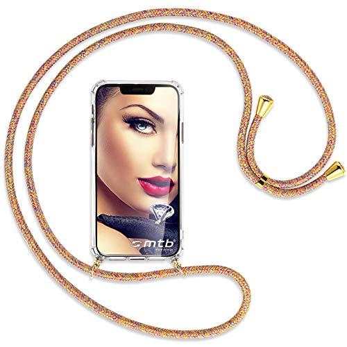 mtb more energy Collar Smartphone para Huawei P Smart S, Huawei Y8P (6.3'') - Rainbow/Oro - Funda Protectora ponible - Carcasa Anti Shock con Cuerda Correa