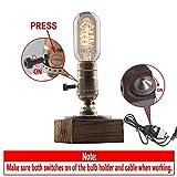 YUENSLIGHTING Vintage Loft Lampes de table Dimmable bois bureau lampe maison Light Bar Decor