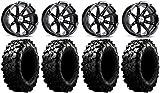Bundle - 9 Items: MSA Black Diesel 14' UTV Wheels 30' Carnivore Tires [4x156 Bolt Pattern 12mmx1.25 Lug kit]