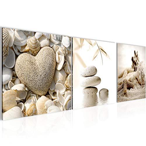 Bilder Strand Steine 3 Teilig Bild auf Vlies Leinwand Deko Wohnzimmer 90 x 30 cm Feng Shui Beige 501634a