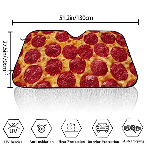 Baked Sausage Pizza Portable Universal Sun Protection Windshield Sunshade Keep Cool for Car Suv Trucks and Most Vehicle 51×27.5 Inches