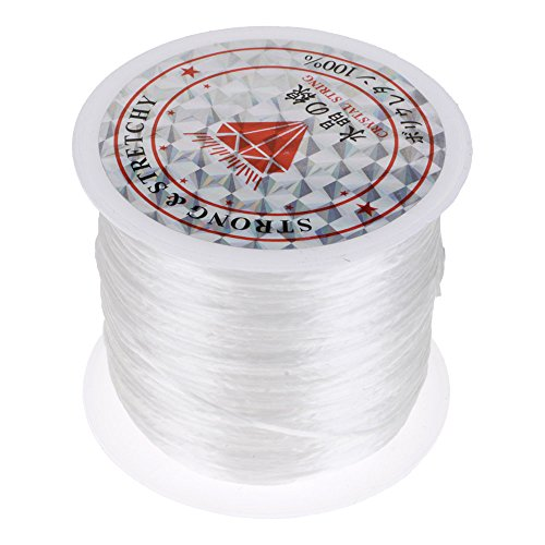 HuntGold Elastisch Perlen Faden Schnur Seil Halskette Kette Armbänder Kristall Schnur Gurt Weiß