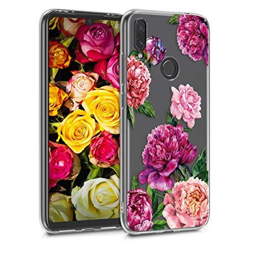 kwmobile Funda Compatible con Xiaomi Redmi Note 7 / Note 7 Pro - Carcasa de TPU y Magnolias Grandes en Violeta/Rosa Claro/Transparente