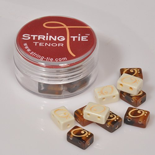 TSTGB TENOR String-Tie Tailpiece BridgeBeads Set for Classical or Flamenco Spanish Guitar, BLACK EBONY Color Bridge Beads.