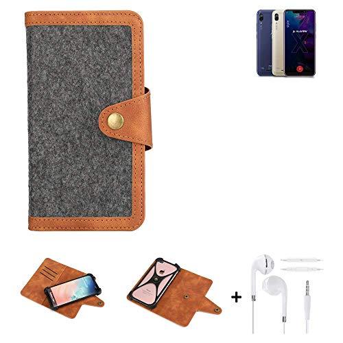 K-S-Trade® Handy-Hülle + Kopfhörer Für Allview Soul X5 Style Schutz-Hülle Filz-Hülle Kunst-Leder Dunkelgrau Braun (1x)