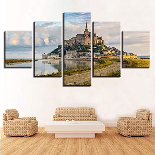 ERSHA 5 Paneles de Lienzo de construcción de Castillo, póster artístico de Pared, decoración del hogar, Sala de Estar Moderna, Pintura Impresa en HD, Cuadros modulares