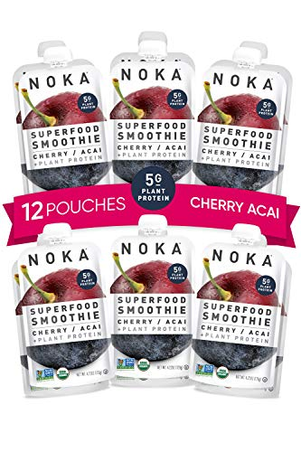 NOKA Superfood Pouches (Cherry Acai) 12 Pack | 100% Organic Fruit and Veggie Smoothie Squeeze Packs | No Added Sugar, Non GMO, Gluten Free, Vegan, 5g Plant Protein | 4.2 oz Each