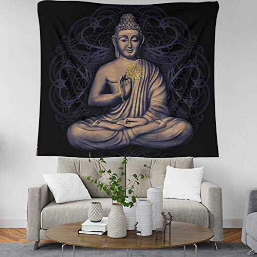 Bohemian Indian Tapestry Wall Hanging Golden Lotus Sitting Buddha Statue, Psychedelic Hippie Trippy Wall Tapestry Home Decorations for Living Room Bedroom Dorm Decor,59.1×51.2inches (150×130cm)