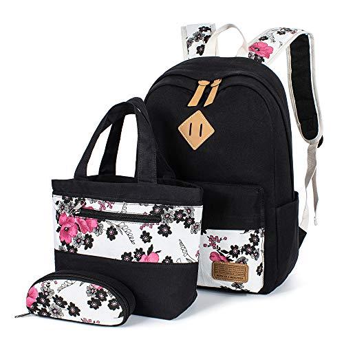 Leaper Floral Backpacks Teen Backpacks School Bags Bookbags Set 3 in 1 Black