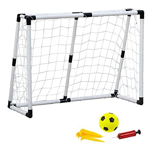 ColorBaby - Portería fútbol, Portería plegable, con balón Ø10,5 cm, hinchador, Portería fútbol niños jardín, 132x101x59 cm, 8 piquetas, Juegos de exterior, +6 años, CB Toys (40387)