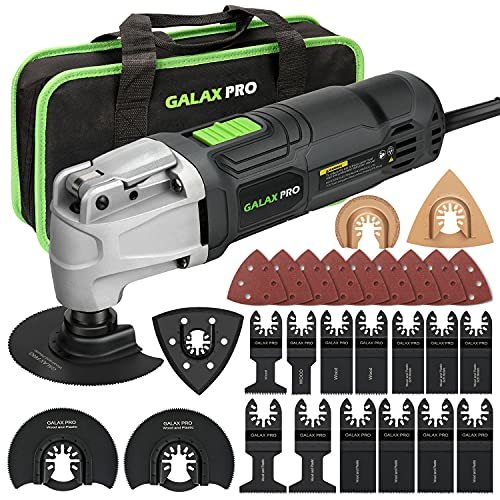 GALAX PRO 2.4Amp 6 Variable Speed Oscillating Multi-Tool Kit with Quick-Lock accessory change, Oscillating Angle:3°, 28pcs Accessories and Carry Bag