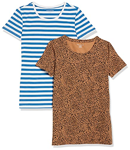 Amazon Essentials 2-Pack Classic-fit Short-Sleeve Crewneck T-Shirt Camiseta, Paquete de 2 Camel/Negro Ikat Animal/Azul/Rayas Blancas, M, Pack de 2