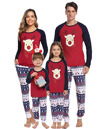 Hawiton Pigiama Famiglia Natale Set, Indumenti da Notte con Cervo a Manica Lunga Pigiami Due Pezzi per Uomo Donna Bambin,Coordinati Lunghi Pantaloni Pigiami Natalizi Famiglia Intero Invernali