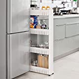 Slim Slide Out Pantry Storage Rack Mobile Shelving Unit Organizer 4 Large Baskets