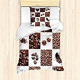 ABAKUHAUS caffè Set Copripiumino, Chicchi di caffè tostati, Decorativo, 2 Pezzi con 1 Fo...