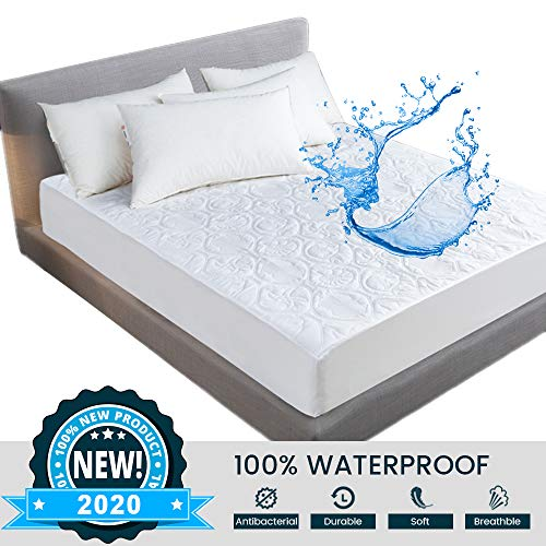 100% Waterproof Mattress Protector Moisture Proof Embossing Hemming Quilted Fitted Mattress Topper, Breathable| Anti Allergy | Soft | Durable Mattress Pad Cover, Easy Fit (White, 150x200+30cm)