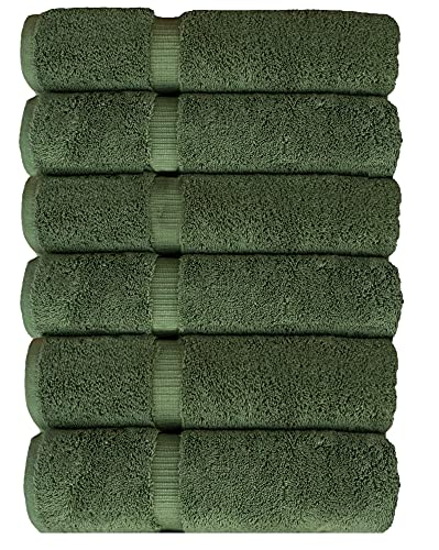 Luxury Hotel & Spa Collection, Quick Dry 100% Turkish Cotton 700 GSM, Eco Friendly Towel, for Bathroom, Gymand Kitchen Dobby Border Soft Hand Towel Set 16 X 30, Moss, Hand Towels - Set of 6