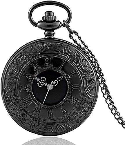 YYhkeby Bolsillo Watchretrero Bronce Vintage Bolsillo Reloj Collar Colgante Colgante Negro Antiguo Steampunk Mens Cuarzo Relojes de Bolsillo Ki Jialele (Color : Black)