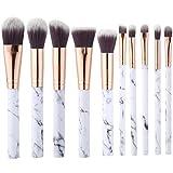 Juego de 10 brochas de maquillaje profesional para mujeres para polvos sueltos, contorno, sombra, iluminador, sombra de ojos y base