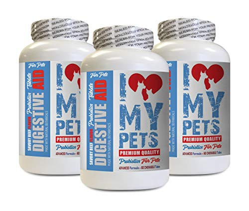 I LOVE MY PETS cat Digestive aid - PET Digestive AID - Dogs and Cats - Best PROBIOTICS - Cats probiotic Supplement - 180 Treats (3 Bottle)
