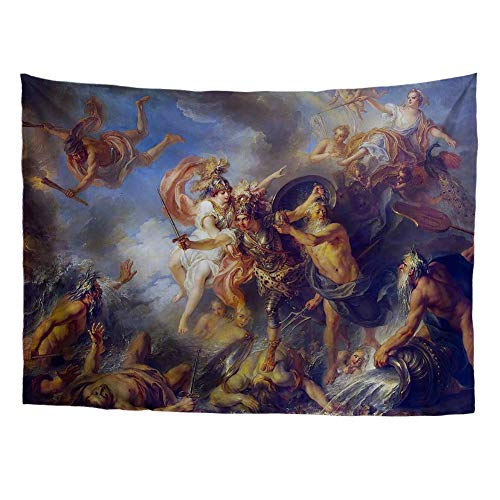 Greek Mythology Classic Art Masterpiece Tapestry Series Charles-Antoine Coypel Fury of Achilles 1737 Classical Art Tapestry Antique Vintage Collection Home Décor