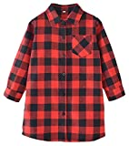 Girls' Long Sleeves Button Down Flannel Buffalo Tunic Plaid Shirt Dress Blouses Tops, Red, 3-4 Years = Tag 100