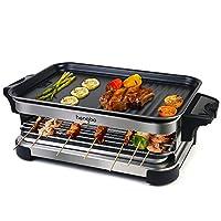griglia elettrica barbecue piastra elettrica raclette per grigliare, griglia senza fumo 2 in 1, calore regolabile continuo termostato, 1300w - nero