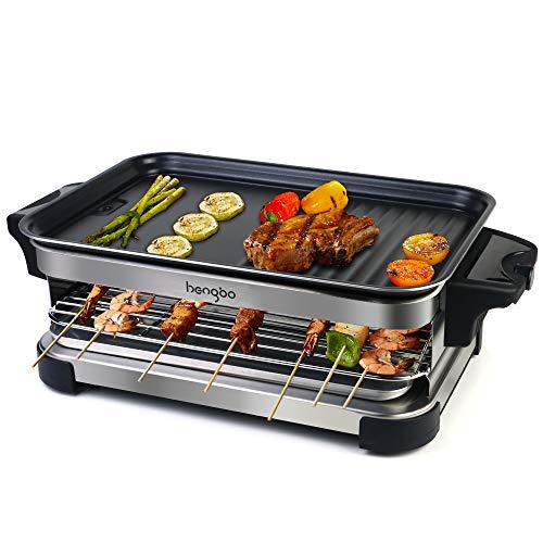 Parrilla Grill Electrico Barbacoa de Interior Sin Humo Raclette 2 in 1 con Espátulas de Madera, Temperatura Ajustable, Revestimiento Antiadherente, 1300W - Negro