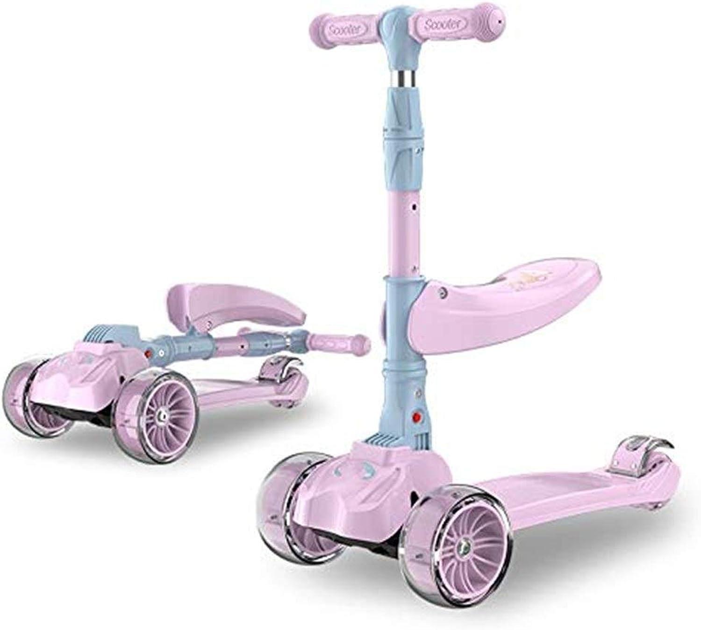 JPVGIA Roller Für Jungen, Mdchen, Kinder, 3-in-1-Roller Mit Abnehmbarem Sitz, Einstellbarer Hhe Und PU-blinkenden LED-Lichtrdern Für Kinder Im Alter Von 2 Bis 14 Jahren