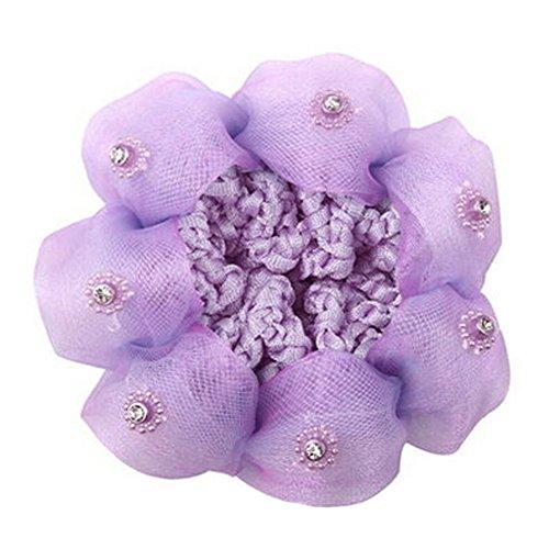 Set Of 4 Ladies Mesh élastique Bun Cover cheveux Nets cheveux Snood,Violet clair