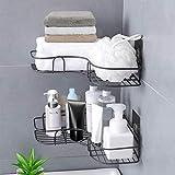 Mensola da doccia, organizer per doccia, scaffale angolare con adesivo in acciaio inox, ca...