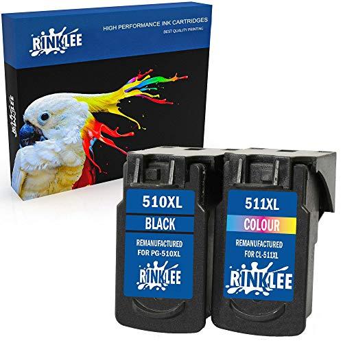 RINKLEE Remanufacturado para Canon PG-510XL CL-511XL Cartucho de Tinta Compatible con Canon Pixma iP2700 iP2702 MP230 MP240 MP250 MP260 MP270 MP280 MP480 MP490 MP495 MP499 MX350 | 1 Negro, 1 Tricolor