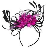 Tocado con plumas, ideal para fiestas, bodas o las carreras, color negro y fucsia