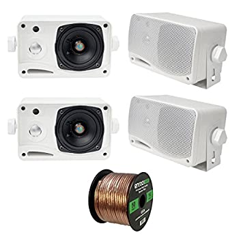 4 x New Pyle PLMR24 3.5   200 Watt 3-Way Weather Proof Marine Mini Box Speaker System  White  and Enrock Audio 16-Gauge 50 Foot Speaker Wire