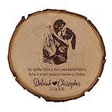 unique present® Baumscheibe mit Fotogravur - Motiv Großes Glück - Schönes Geschenk mit Foto auf der Holzscheibe - Echtes Naturholz aus heimischen Wäldern - Tree Slices Engraved